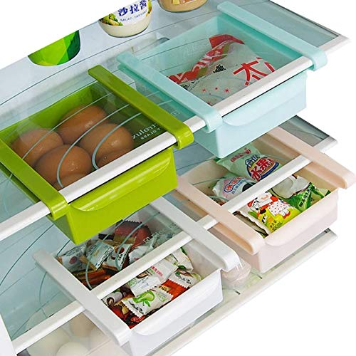 Zollyss 4 Pcs Fridge Space Saver Organizer Slide Storage Rack Shelf Drawer