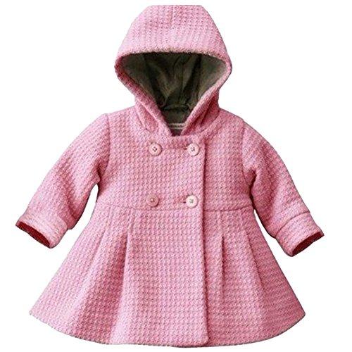 Free Fisher Baby Mädchen Mantel Warm Wintermantel Mit Kapuze, Rosa, Gr. 98(Herstellergröße: 100)