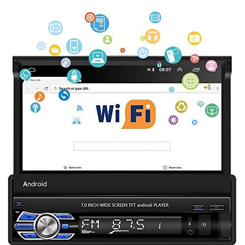 Autoradio Android 1 Din - Autoradio à écran Tactile HD 7 avec Bluetooth, Navigation GPS, caméra de recul, WiFi, Lecteur MP5 de Voiture rétractable Prend en Charge MirrorLink/FM/Dab+/USB/AUX