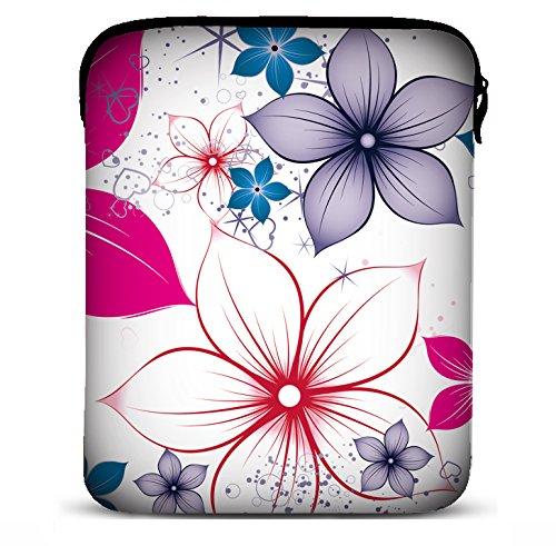 MySleeveDesign 7-7,9 Zoll Tablet Hülle Sleeve Kompatibel Mit Samsung Galaxy Tab 4 7.0 Fire HD Apple iPad Mini Lenovo A7 Acer A1 One 7 Asus Nexus Kindle UVM. - Pink Flowers [7]
