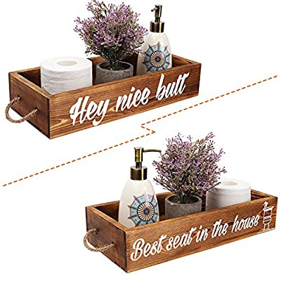 Hey Nice Butt Bathroom Decor Box Rustic Toilet Paper Holder Wooden Toilet Storage Box Funny Farmhouse Decor Bathroom Decorations Brown