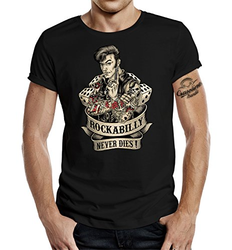 GASOLINE BANDIT Rockabilly Camiseta Original Diseno: Rockabilly Never Dies! II XL