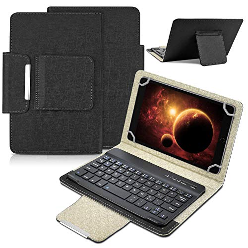 keyboard with leather cases Universal 8 inch Tablet Keyboard Case, 【DETUOSI】 Wireless Bluetooth Removable Keyboard + Folio PU Leather Cover + Stand, Travel Portable Leather Sleeve for iOS/Android/Windows 8.0'' Tablet #Black