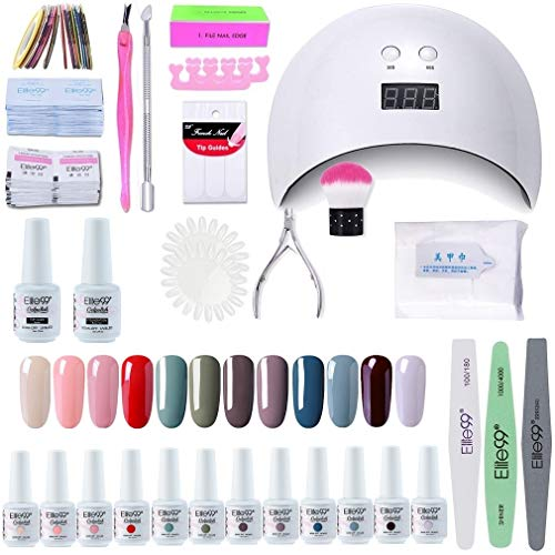 buenos comparativa Elite99 24W UV LED Lámpara de uñas 12 colores UV LED Gel Set de esmalte de uñas semipermanente y opiniones de 2021