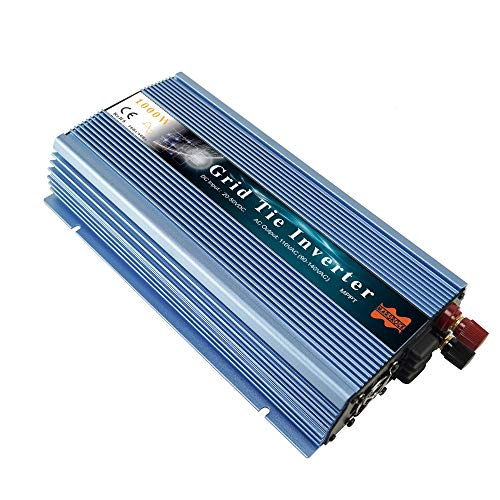 Marsrock 1000W Grid Tie Solar Inverter, 20-50V DC to AC 120V Pure Sine Wave Inverter for 1000-1200W 24V, 30V, 36V PV Module(AC120V Blue)