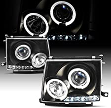 For Toyota Tacoma 2/4WD Black Bezel Dual Halo Ring Design Projector LED Replacement Headlights Lamps