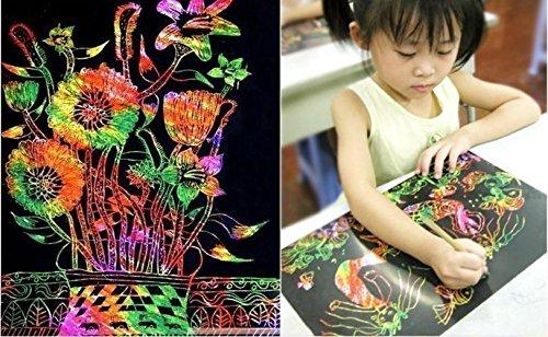 ILOVEDIY Jouet éducatif - 10 Sheet Doodle Enfants Dessin Jouets Magic érafler Papier 16K avec Crayon