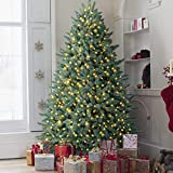 OasisCraft Pre-lit Christmas Tree, Premium Hinged Blue Spruce Artificial Christmas Tree 7.5ft Full Xmas Tree with 1000 Clear Lights