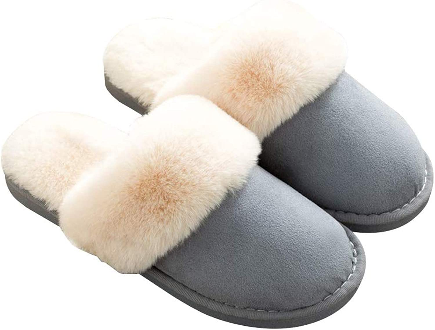 Women Slippers Memory Foam Non-Slip Fluffy Fur Lined Slip on Winter House shoes