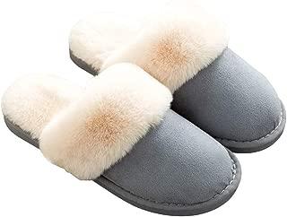 Womens Mens Slippers, Memory Foam Fluffy Fleece Fur Lined Slip on House Slipper Non-Slip Plush Clogs Indoor & Outdoor Winter