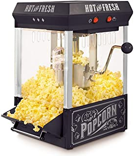 Nostalgia KPM200BK 2.5-Ounce Tabletop Kettle Popcorn Maker Makes 10 Cups, With Kernel & Oil Measuring Spoon, Perfect for Birthday Parties, Movie Nights – Black