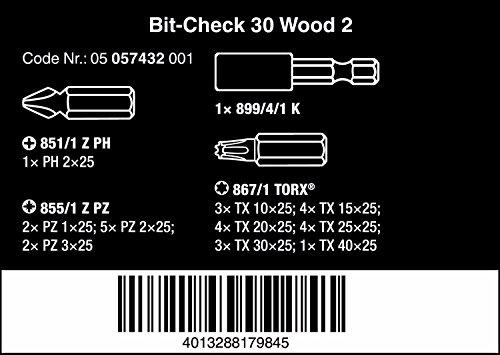 Wera Bit-Sortiment, Bit-Check 30 Wood 2, 30-teilig, 05057432001