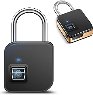 SZHSR 2018 Fingerprint Lock,1 Second Unlock Portable Smart Biometric Security No Password,Waterproof and Anti-Theft Padlock for Golf Bag,Suitcase,Gym Locker,Cupboard,Drawer,Door and More(Gold)
