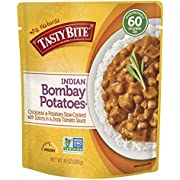 Tasty Bite Indian Bombay Potatoes 10 Ounce, Fully Cooked Indian Entrée with Chickpeas and Potatoes with Spices in a Tomato Sauce, Vegan, Gluten Free, Microwaveable, Ready to Eat
