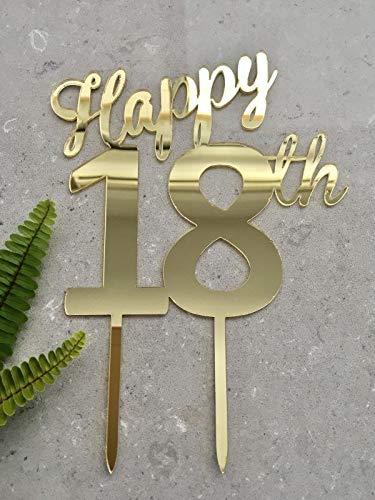 "Tortenaufsatz""Happy 18th Birthday"", Acryl, goldfarben"