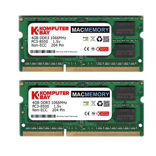 Komputerbay MACMEMORY 8GB (2x 4GB) DDR3 PC3-8500 1066MHz SODIMM 204-Pin Memoria del computer portatile per Apple Mac