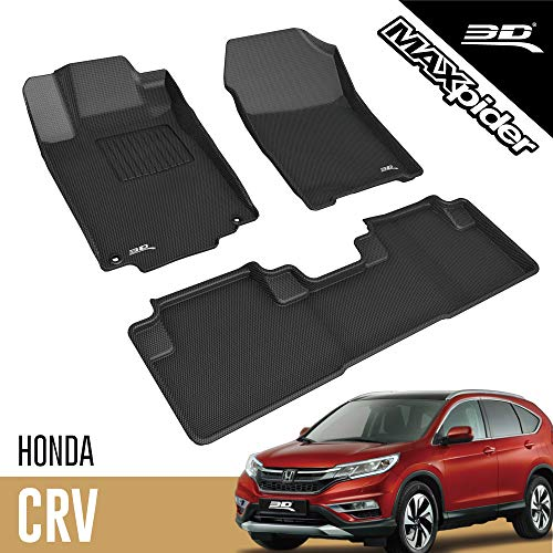 3D MAXpider L1HD04301509 Honda CR-V CRV 2012-2016 Custom Fit All-Weather Car Floor Mats Liners, Kagu Series (1st & 2nd Row, Black)