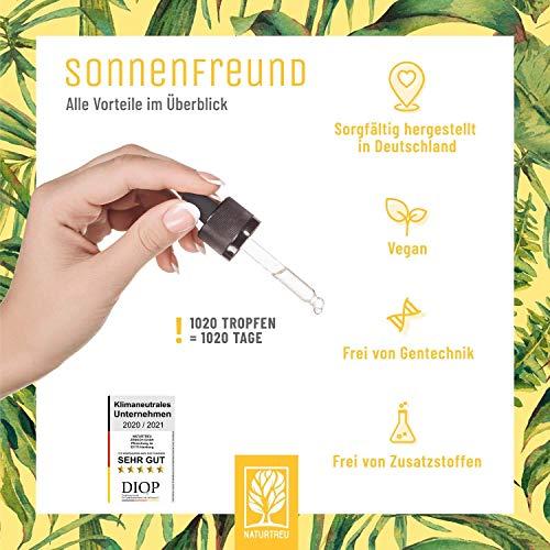 Vitamin D3 K2 Tropfen hochdosiert und vegan - 100% pflanzlich (ohne tierisches Lanolin) - 1000 IE Vitamin D vegan & Vitamin K2 - Sonnenfreund D3K2 Öl geprüft & hergestellt in Deutschland - 2