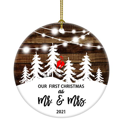 JUOOE 2021 Our First Christmas as Mr & Mrs Christmas Tree Couple Birds Snow Wedding Ornament Gift for Newlywed Couple 2021 (3inch Mr mrs)