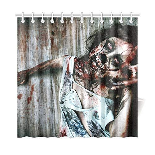 Decoración del hogar Cortina de baño Retrato de primer plano Scary Bloody Zombie Girl Tela de poliéster Impermeable Cortina de ducha para baño, 72 x 72 pulgadas Cortinas de ducha Ganchos incluidos