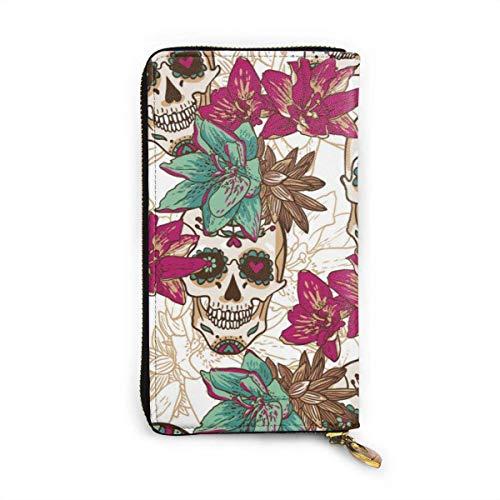 Sugar Skulls Flowers Genuine Leather Zip-Around Wallet Phone Clutch Cash Card Coin Holder Large Travel Purse