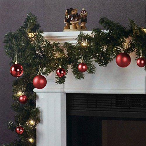 Wohaga Weihnachtsgirlande Tannengirlande Lichterkette 270cm 180 Spitzen 20 Lampen 16 Kugeln, Farbe:Rot