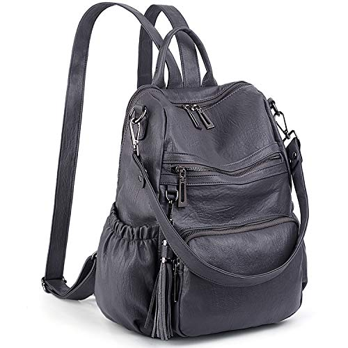 UTO Women Backpack Purse PU Washed Leather Convertible Ladies Rucksack Tassel Zipper Pocket Shoulder Bag Pure Grey