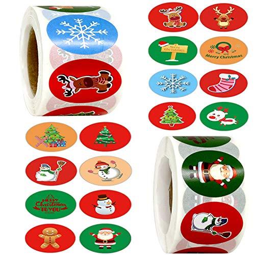 Weihnachts Aufkleber Rolle,1000Pcs Rund Geschenk-Aufkleber, Weihnachtsgeschenke Sticker Etiketten, für Umschlag Geschenktüten Papiertüten Weihnachtskarten …