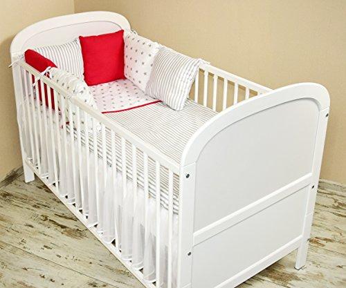 Amilian® Baby Bettwäsche Design102 Nestchen Bettset 100x135 für Babybett Decke Kissen Bettumrandung
