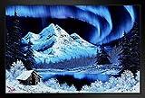 Bob Ross Northern Lights Art Print Canvas Painting Black Wood Framed Art Poster 14x20