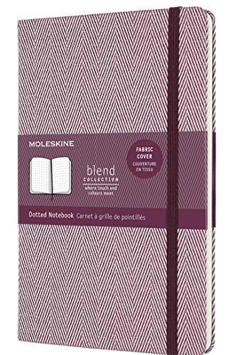 Moleskine - Cuaderno Blend Collection, Cuaderno con Hojas de Puntos, Tapa Dura de Tela con Motivo de Espigas y Cierre Elástico, Tamaño Grande 13 x 21 cm, Color Púrpura, 240 páginas