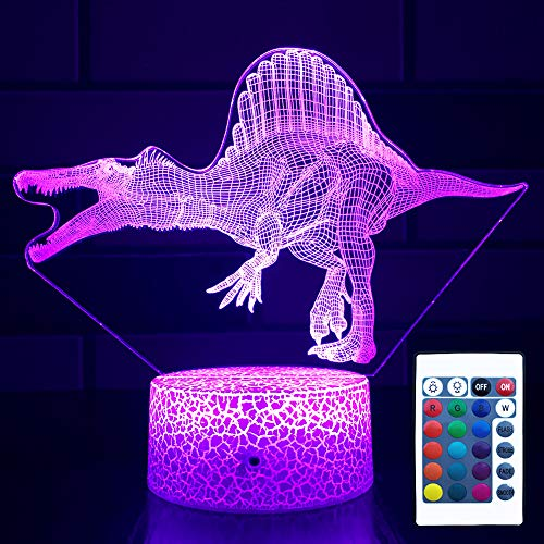 NINE SQUARE EGOU DinosaurNight Light for Kids DinosaurLightwith Touch&Remote Control16ColorChanging Dimmable Spinosaurus Lamp,DinosaurToysfor3 4 5 6 7 8 9 Year Old Boys