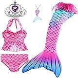 Le SSara 5 Piezas Traje de Baño para Niñas Colas de Sirena para Nadar Princesa Bikini Conjunto de Trajes de Baño Regalo de Cumpleaños 3-12 años (sin monoaleta) (5-6 Años,GB17+5pcsPur)