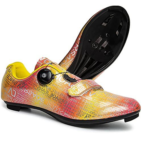 DSMGLRBGZ Zapatillas de bicicleta, 37 – 46, transpirables, antideslizantes, amortiguación, para hombre, mujer, niños, niñas, jóvenes, deportivas, para MTB, amarillo, 46