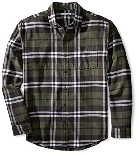 Amazon Essentials Herren-Flanellhemd, reguläre Passform, Langarm, kariert, Olive Plaid, US M (EU M)