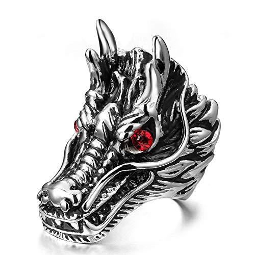Dragon Ring for Men, Norse Viking Dragon Head Ring, Gothic Red Eye Dragon Ring, Vintage Dragon Totem Amulet Ring, Punk Animal Dragon Jewelry for Men Boys (8)