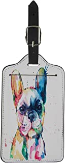 Pinbeam Luggage Tag Frenchie French Bulldog Original Watercolor of Dog Funny Suitcase Baggage Label