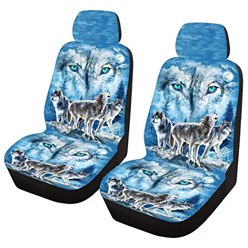 SHG CAR Four Seasons Universal Snow Wolf Print Autositzbezug Kissen Stoff Limousine Schrägheck SUV Absorbent, rutschfest, Waschbar Für Hunde, Haustiere, Kinder Blue