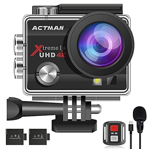 4K 20MP Action Camera 30FPS ACTMAN 40M Underwater Waterproof Camera with 2 Batteries,Dual Microphone,Remote Control, Upgraded EIS,WiFi,Sport Cam with Bicycle & Helmet Mounting Accessories Kit