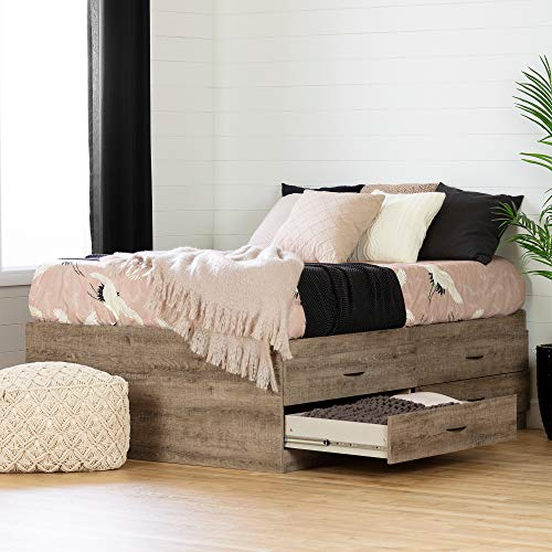 South Shore Step One Captain Bed with 4 Drawers-Full-Weathered Oak