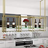 AERVEAL Wine Enthusiast Ceiling Wine Racks with Glass Compartment Iron Bottle Organizer for Cocktail or Champagne Flutes for Kitchen Bar Pubs or Restaurants Rack,80Cm(31.5In),80Cm(31.5In)