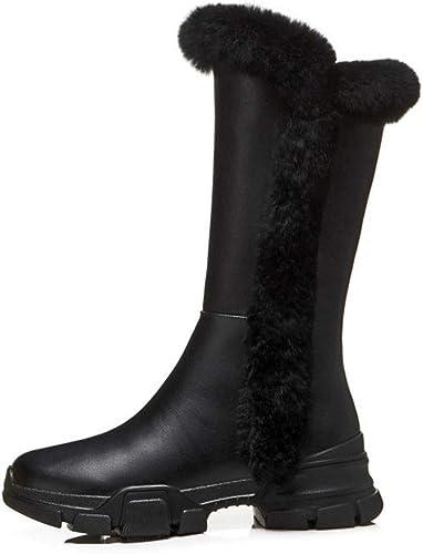 YAN Botines para mujer zapatos de plataforma de Invierno de Cuero botas de Moda para la Nieve botas cálidas zapatos para Caminar al Aire Libre negro