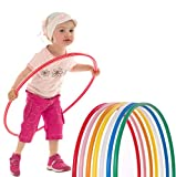 GAX Weight Loss Hula Hoop Multicolored Fitness Hula Hoops Plastic Hoola Hoops for Adults Children Kids Men Women Dance Exercise Plain HulaHoops OLYMPIC ASSORTED COLORS (Pack of 2, Small)
