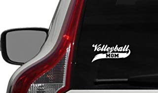 Volleyball Mom Banner Car Vinyl Sticker Decal Bumper Sticker for Auto Cars Trucks Windshield Custom Walls Windows Ipad Macbook Laptop and More (WHITE)