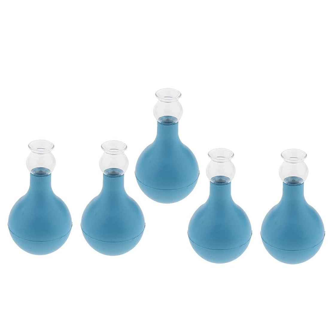 熱狂的な王女放射能FLAMEER 5個 セルライト対策 カッピング ガラス/シリコン マッサージ吸い玉 使いやすい 腫脹緩和 2種選ぶ - ブルー+ブルー2cm, 2cm