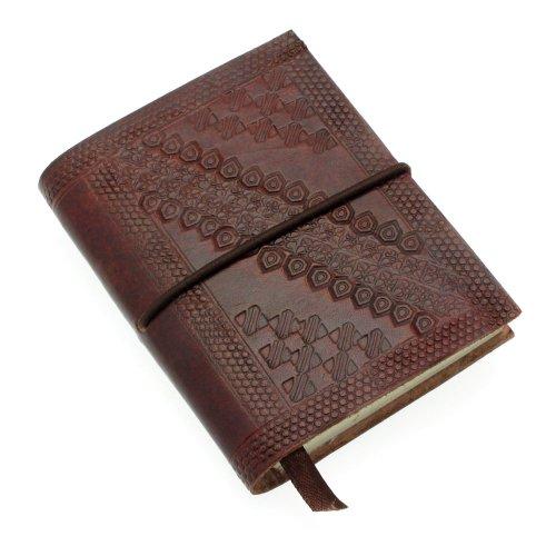 Fair Trade kleine reliëf notitieboek - 75 x 95 mm chocoladebruin