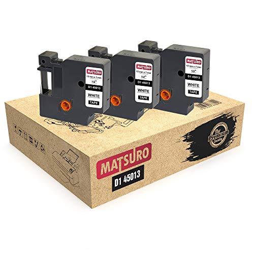 Matsuro Original | Compatibles Cintas de Etiquetas Reemplazo para DYMO D1 45013 negro sobre blanco (12 mm x 7 m | Paquete de 3)