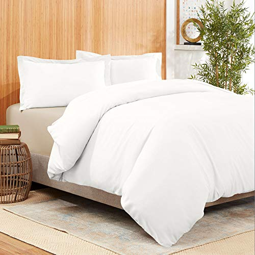 Empyrean Bedding Bamboo Blend 3-Piece Duvet Cover Set – Bamboo and Microfiber Blend – Hotel Luxury Extra Soft Cool Comfy Duvet Cover – Easy Care Wrinkle Free No Ironing Necessary - King - White