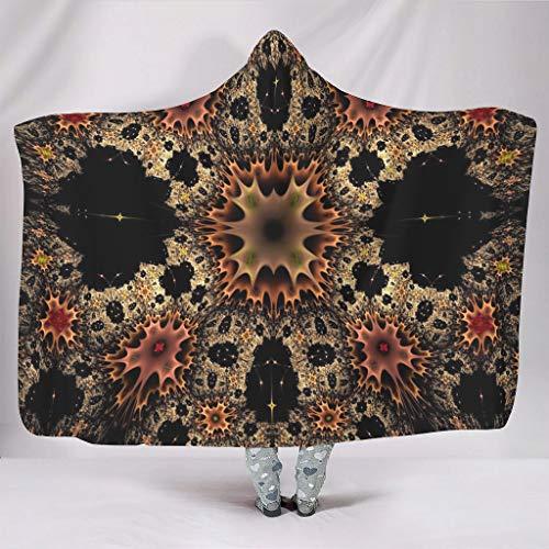 Fineiwillgo Manta con capucha y diseño de mandala con flores, muy suave y cálida, para hombres y mujeres, de felpa, para sofá o sillón, color blanco, 130 x 150 cm