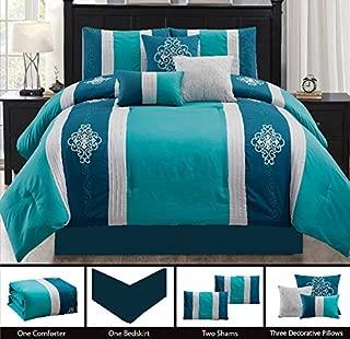 JABA USA 21115-Cal-King-Teal Royal Pattern California King Teal Comforter Set